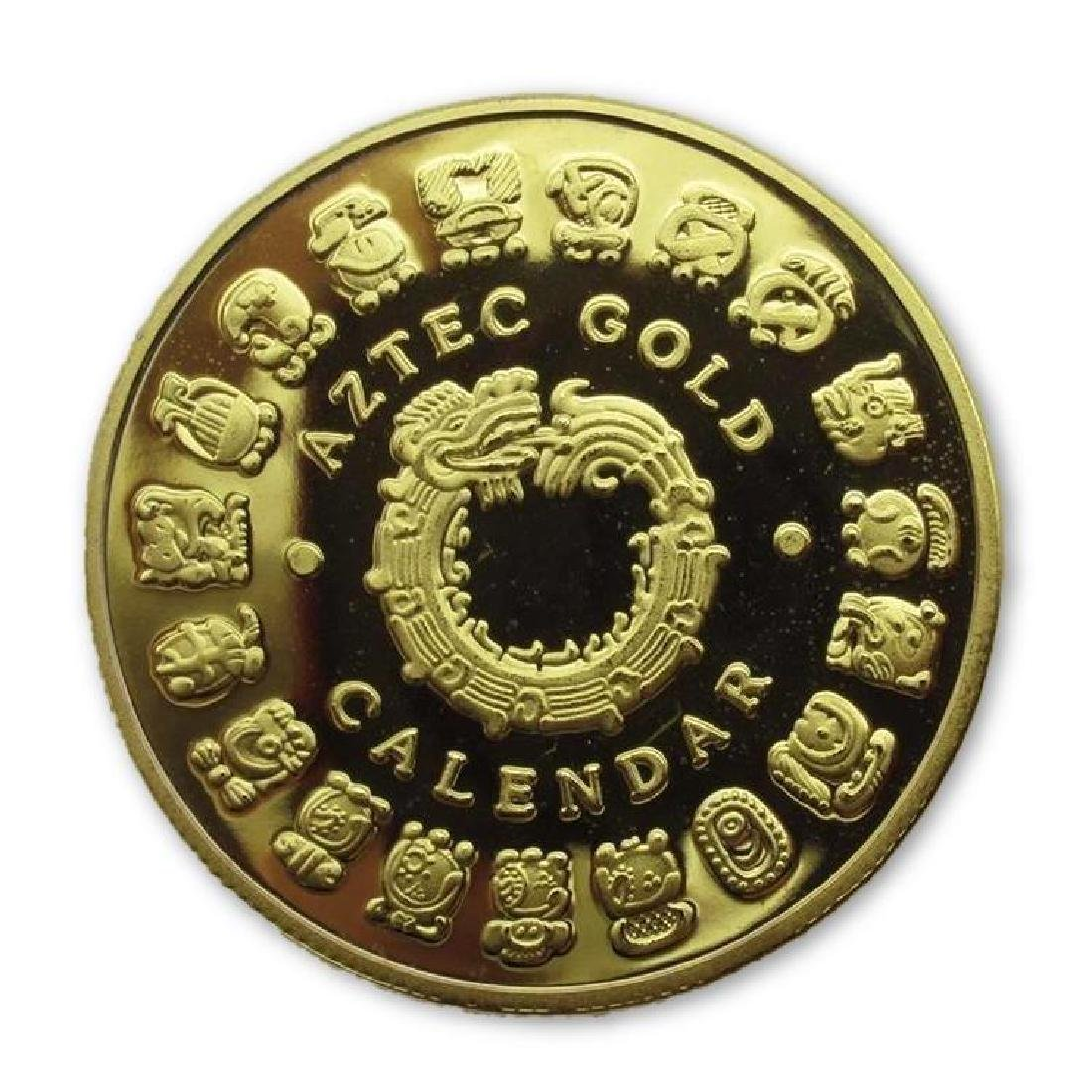 Aztec Calendar Colored Gold Clad Coin - 2