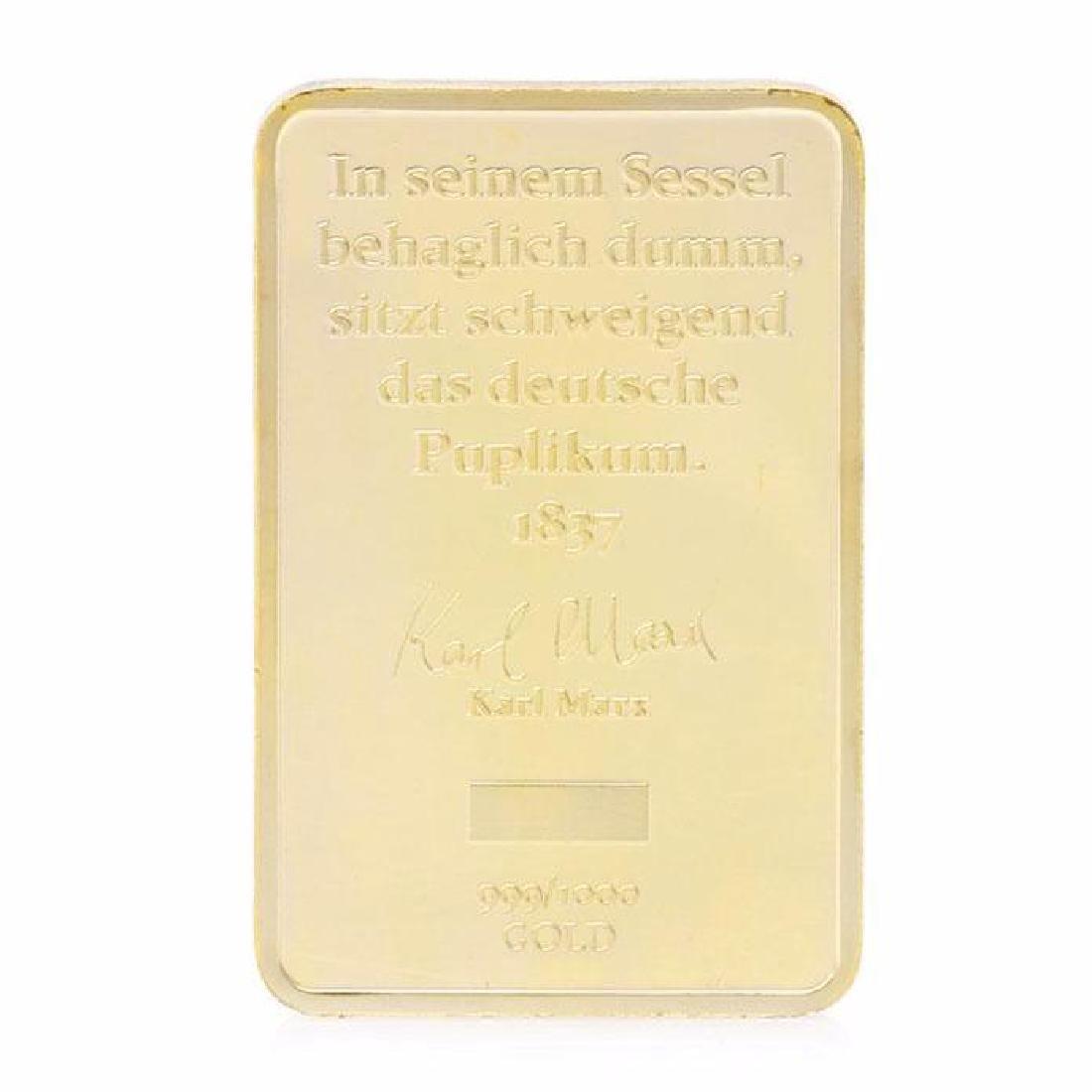 Karl Marx 999/1000 Gold Clad Bullion Bar - 2