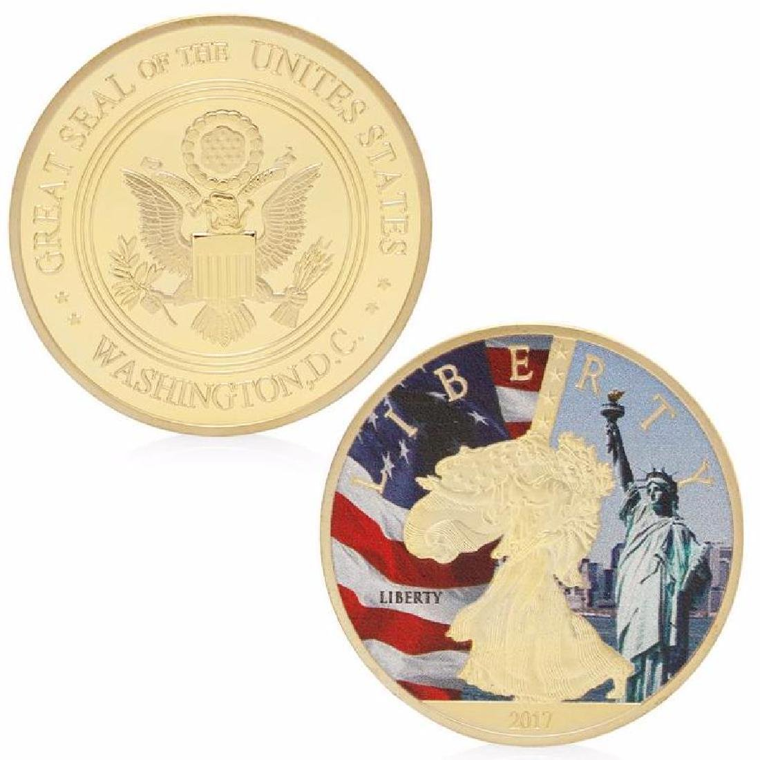 USA Statue of Liberty Colored Gold Clad Coin