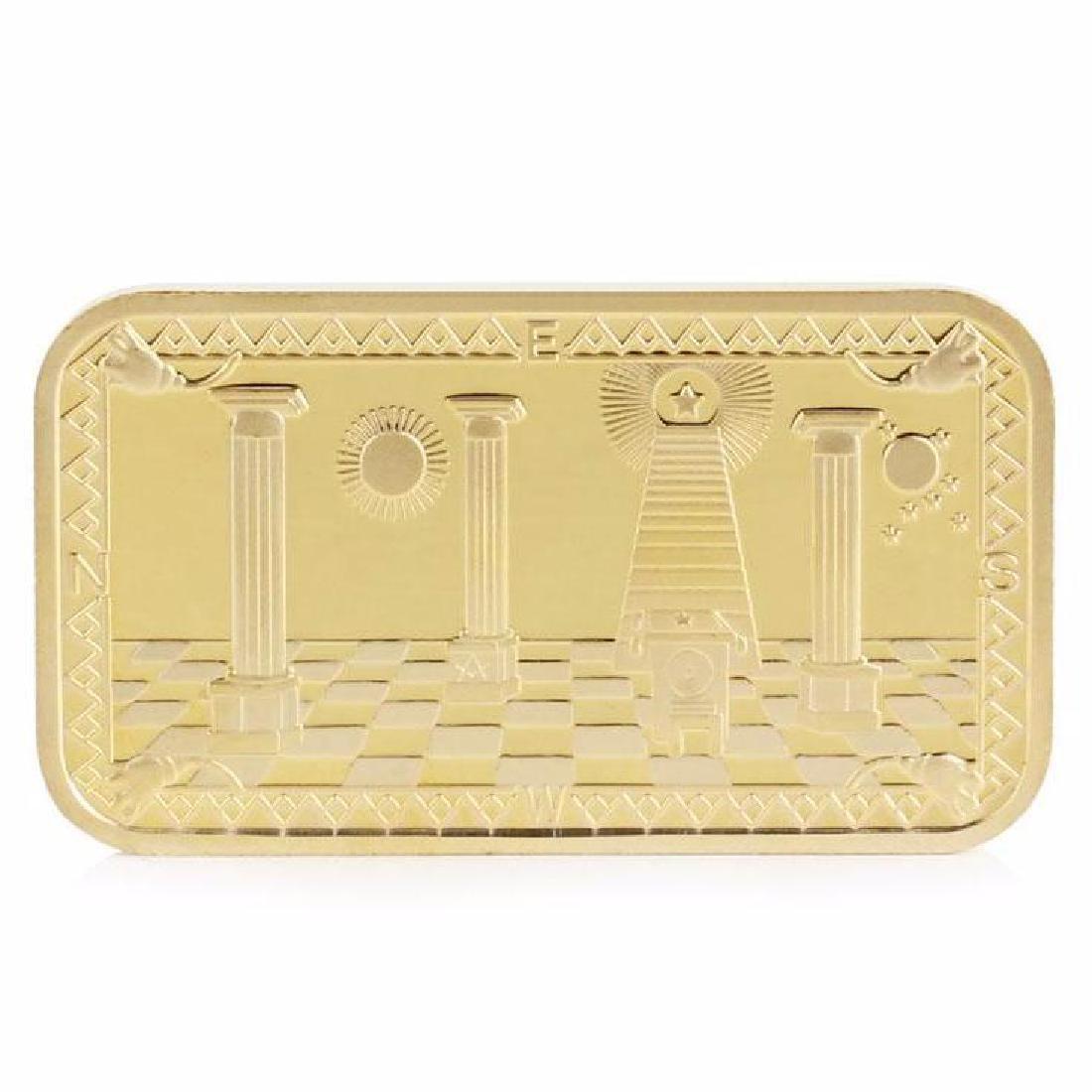 Masonic .999 Fine Gold Clad Bullion Bar - 2