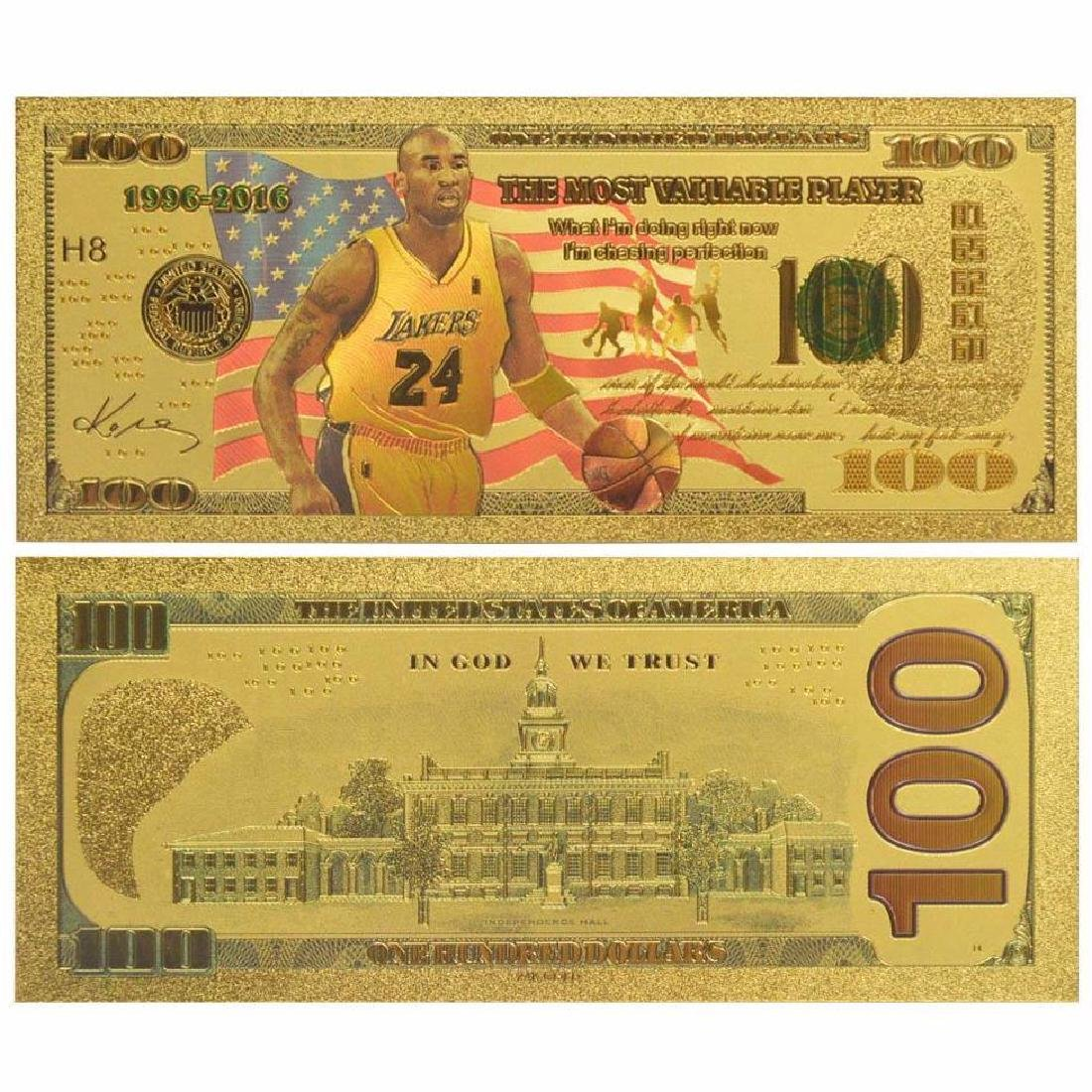 Kobe Bryant $100 Colored Gold Clad Banknote