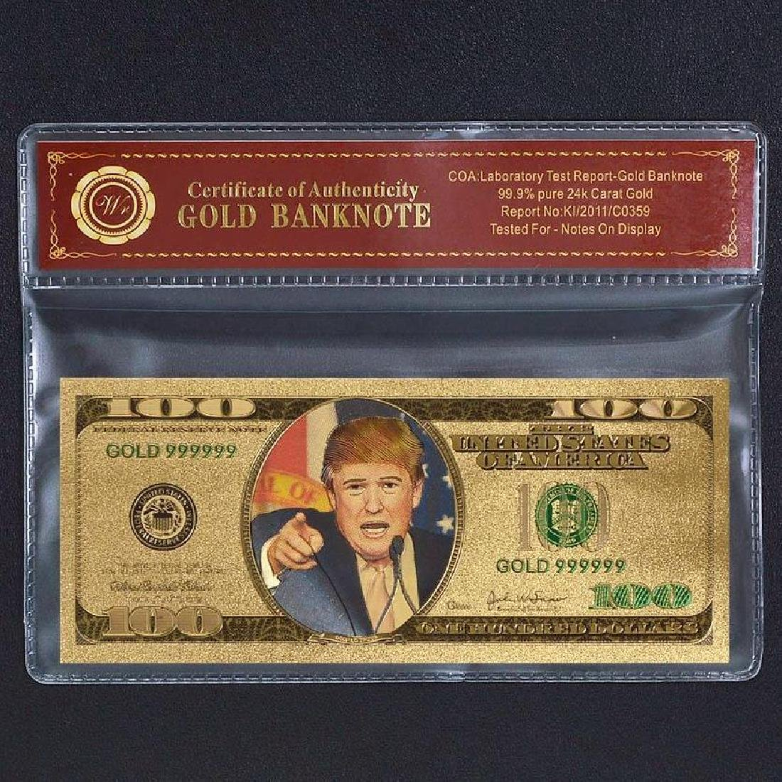 Donald Trump $100 Colored 24K Gold Clad Banknote