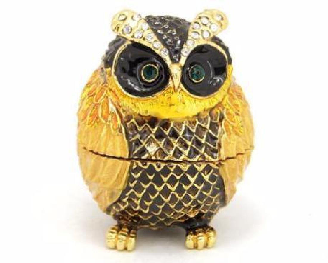 Colored Gold Clad Owl w/ Rhinestones