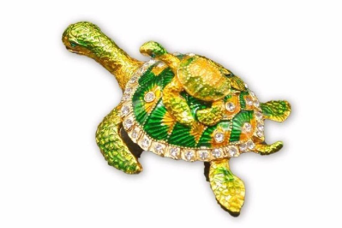 Colored Gold Clad Tortoise w/ Rhinestones