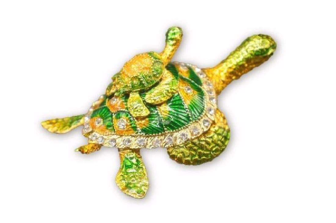 Colored Gold Clad Tortoise w/ Rhinestones - 2