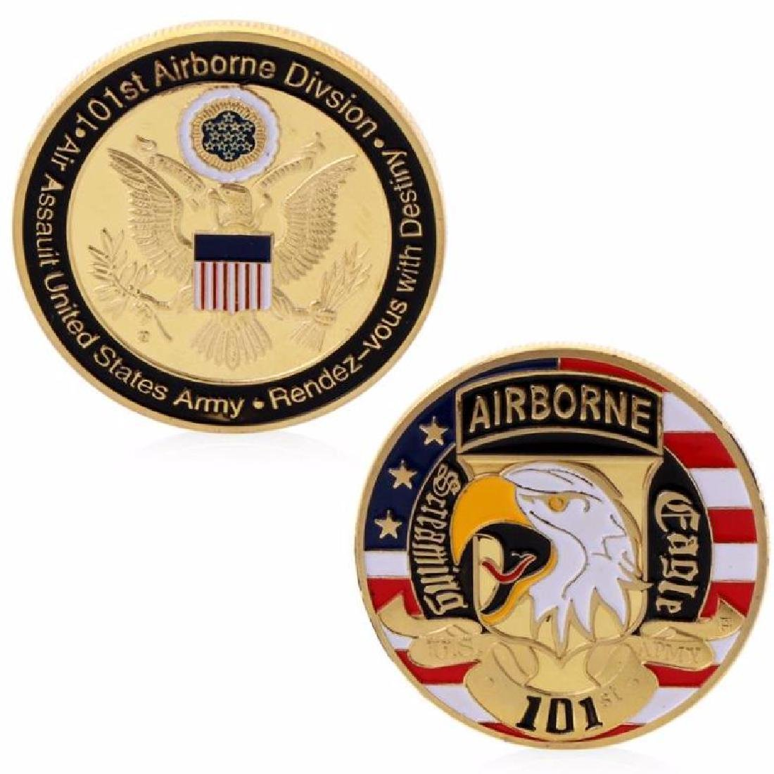USA 101 Airbone Division Colored Gold Clad Coin