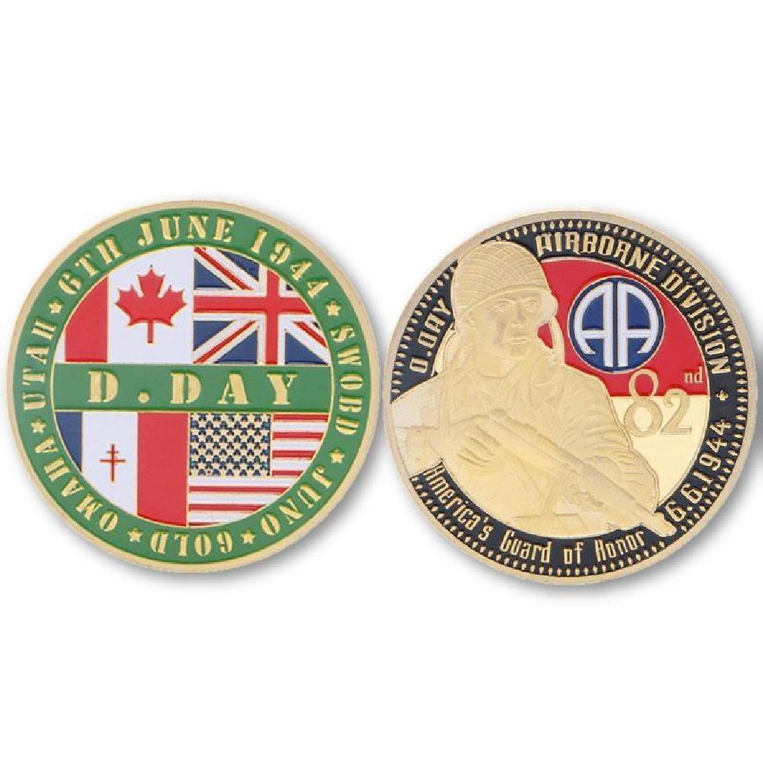 USA 102 Airborne Division Colored Gold Clad Coin