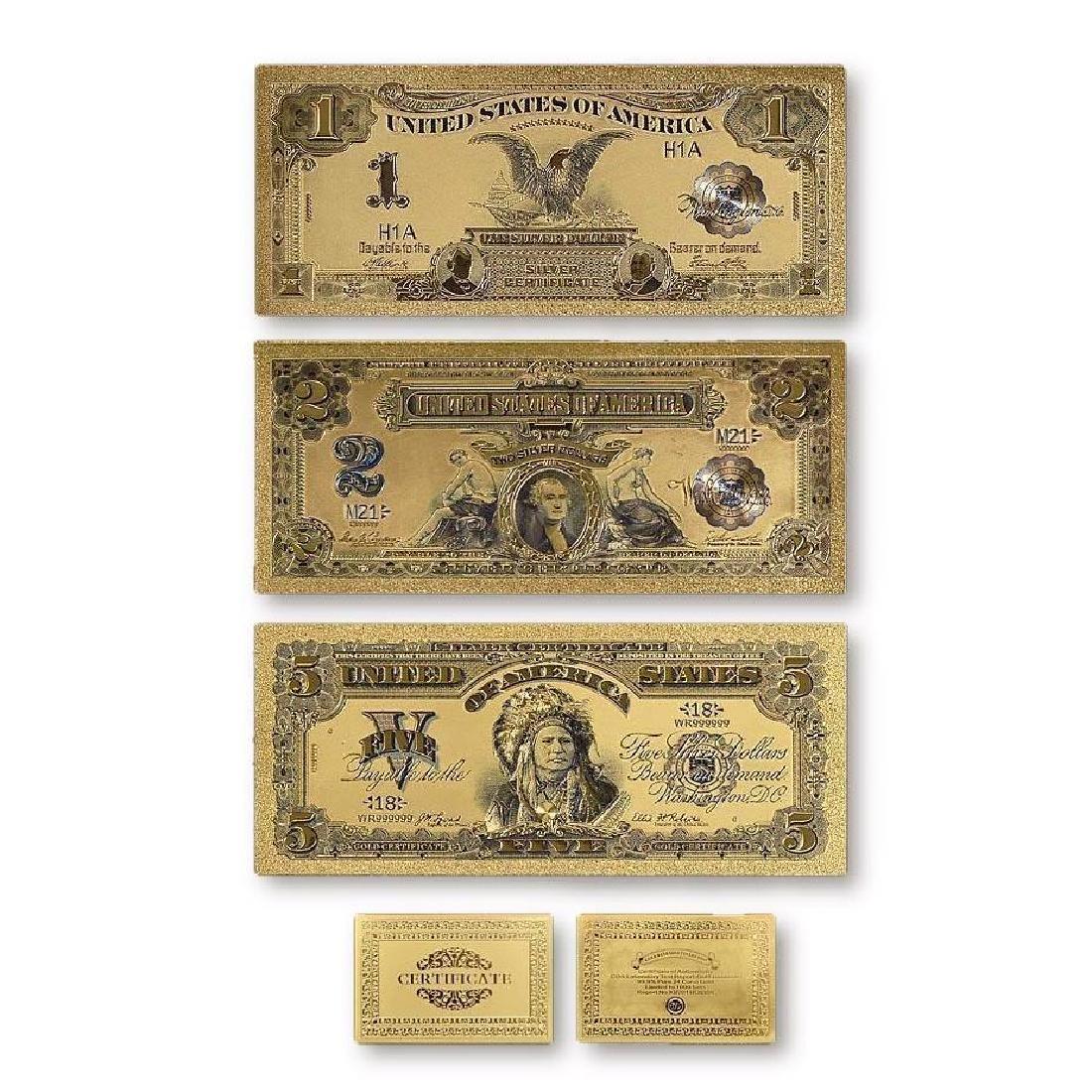 USA $1 $2 $5 Gold Clad Banknotes w/ COA