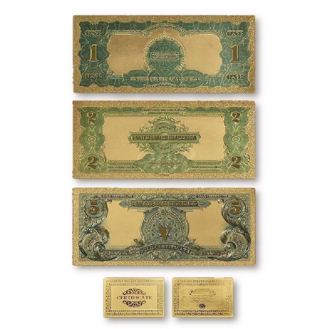 USA $1 $2 $5 Gold Clad Banknotes w/ COA - 2