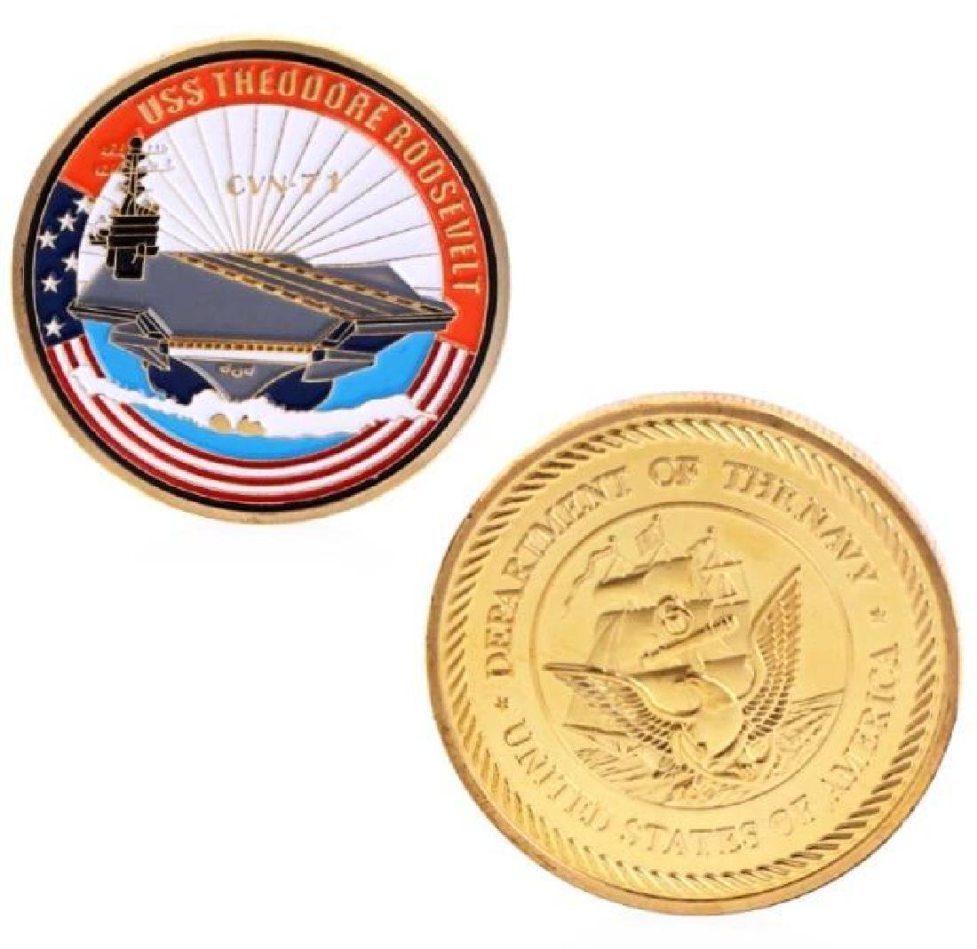 USS T. Roosevelt Gold Clad Commemorative Coin
