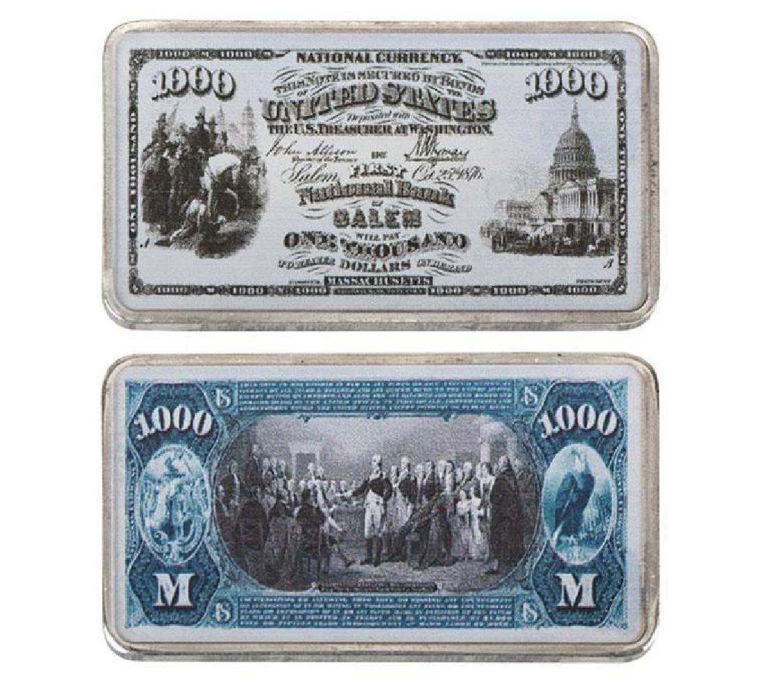 USA $1,000 999.9 Silver Clad Banknote Bar