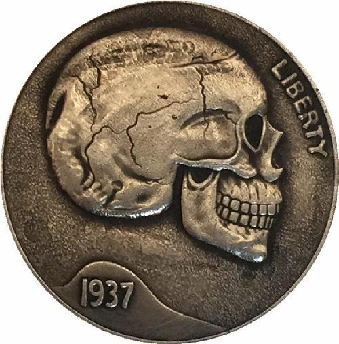 1937 USA Cracked Skull Buffalo Nickel Coin
