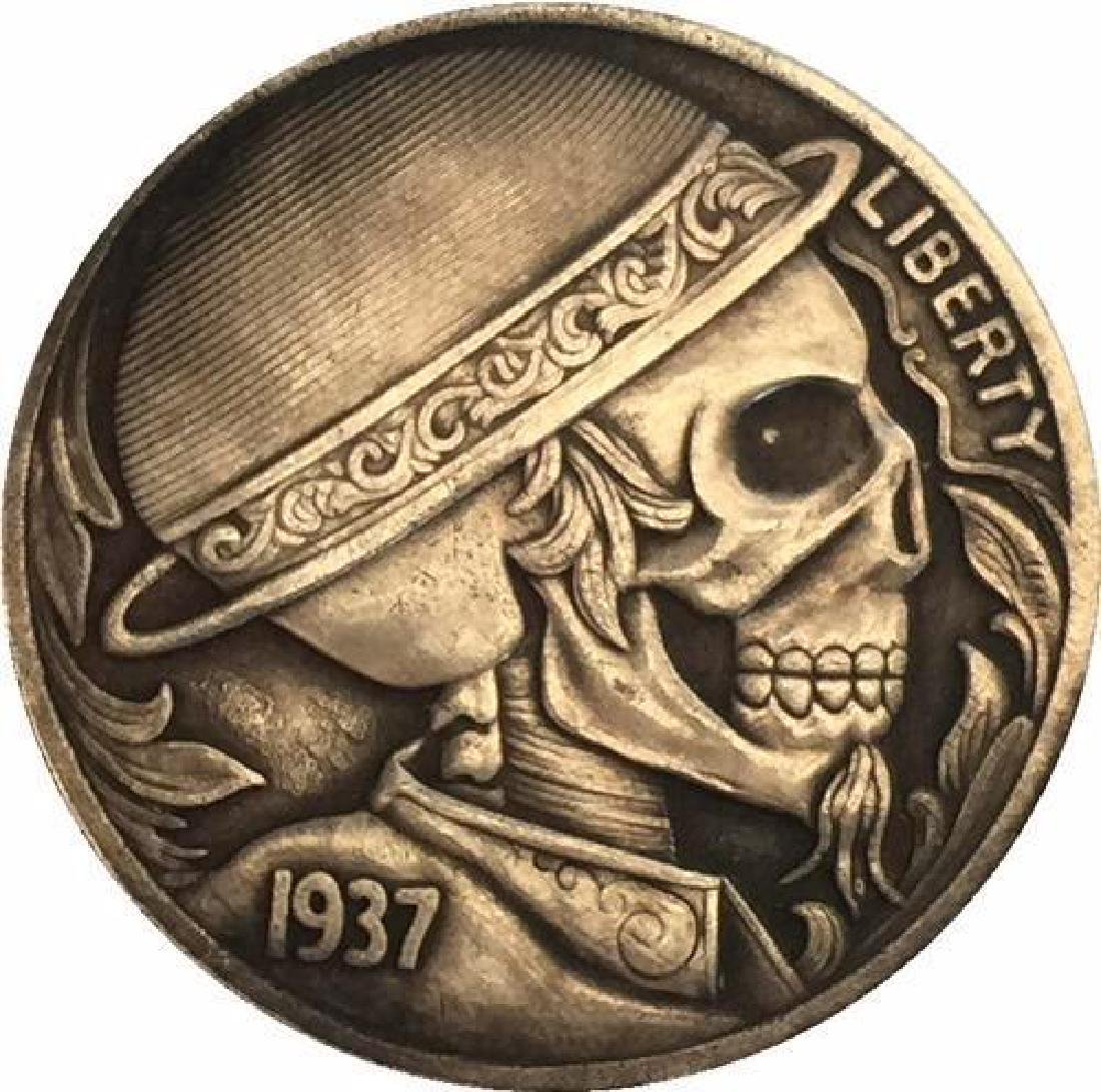 1937 USA Skeleton with Hat Buffalo Nickel Coin
