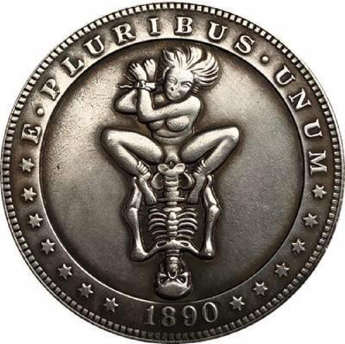 1890 USA Skeleton with Woman One Dollar Coin