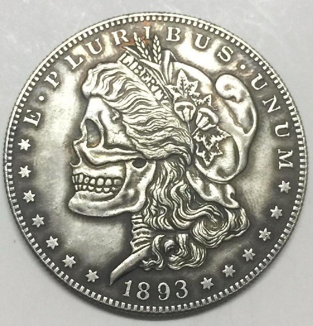 1893 Skeleton Woman Morgan Dollar Coin