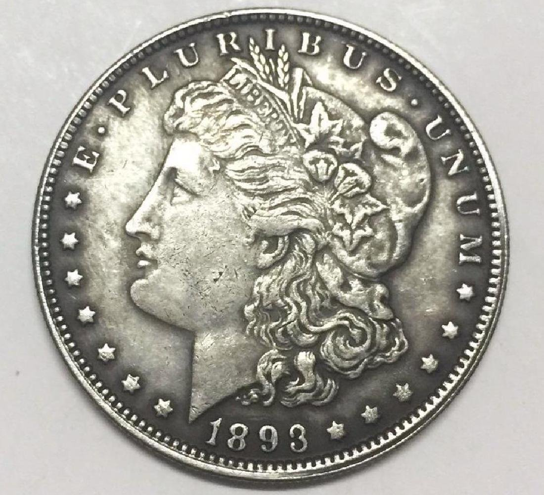 1893 Skeleton Woman Morgan Dollar Coin - 2