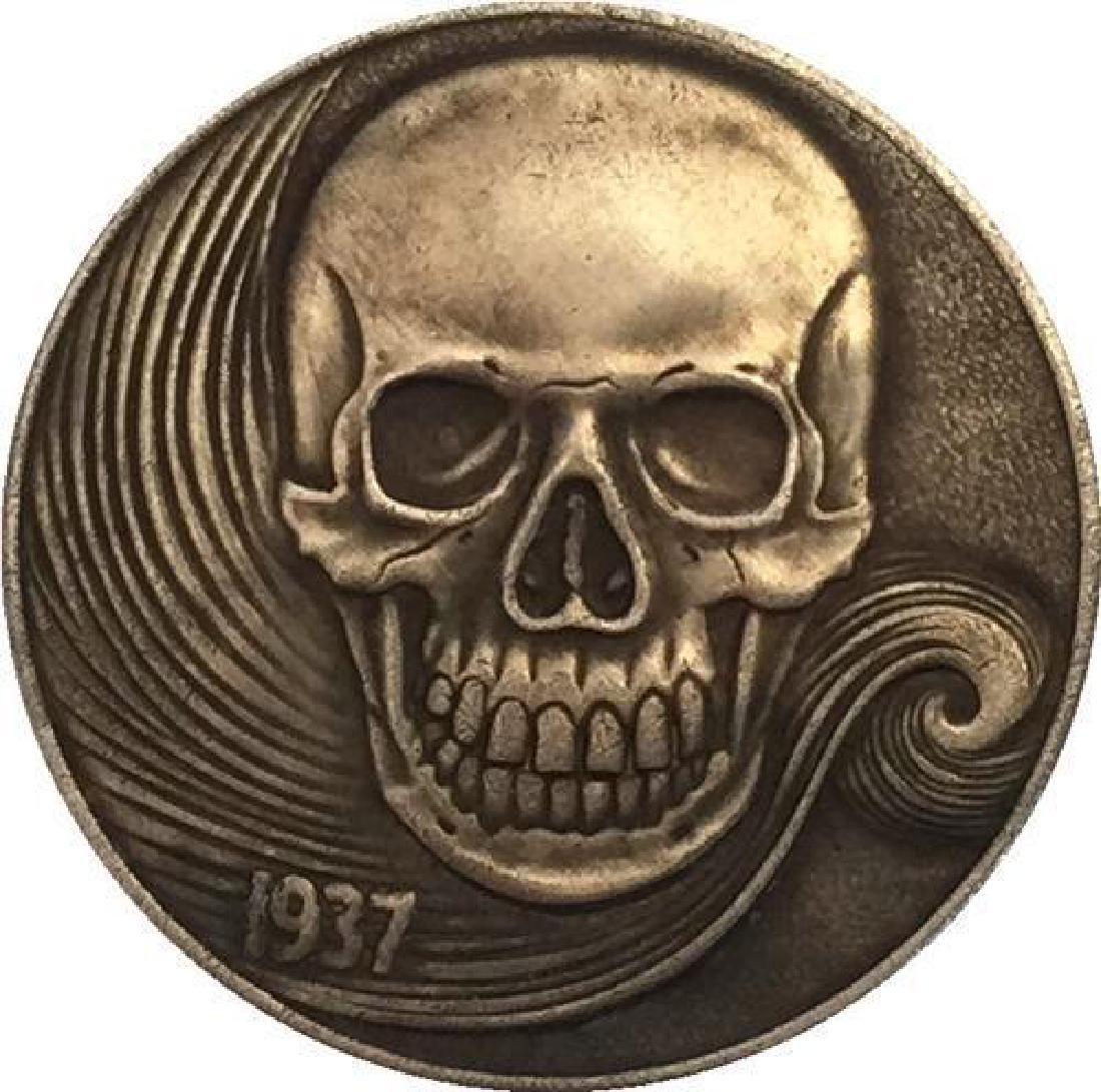 1937 Smiling Skeleton Buffalo Nickel Coin