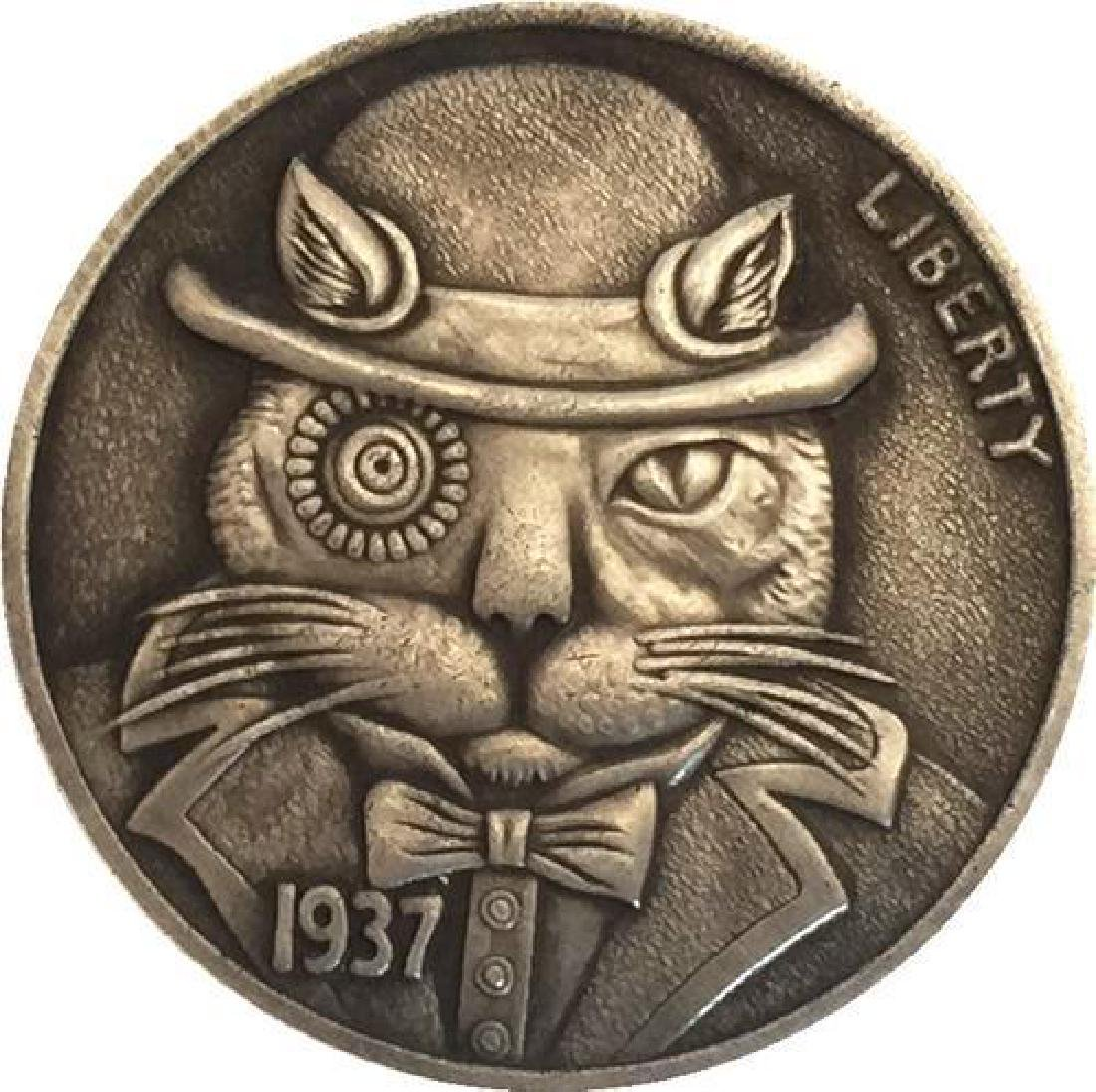 1937 USA Cat with Hat Buffalo Nickel Coin