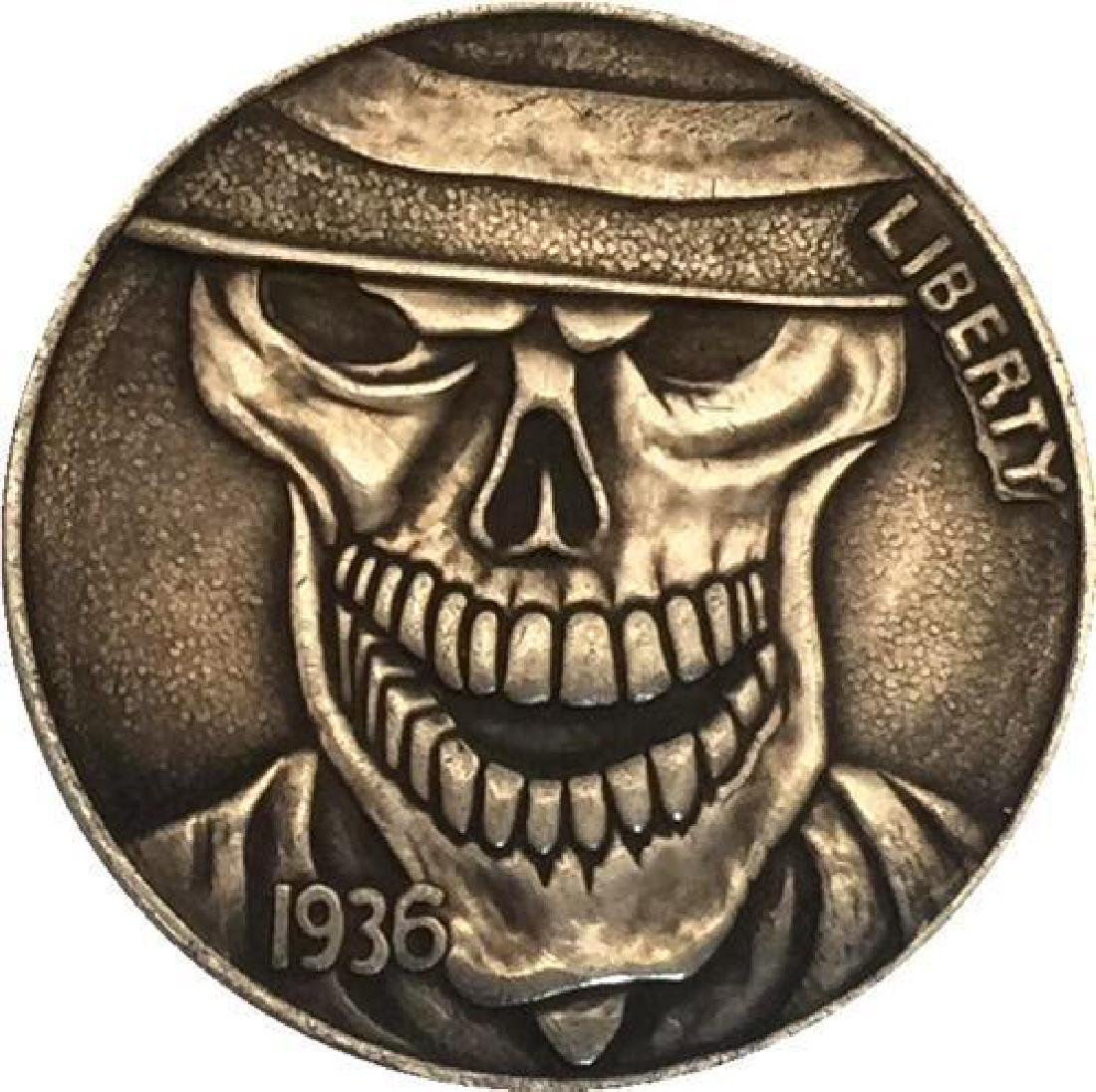 1936 USA Evil Skeleton Buffalo Nickel Coin