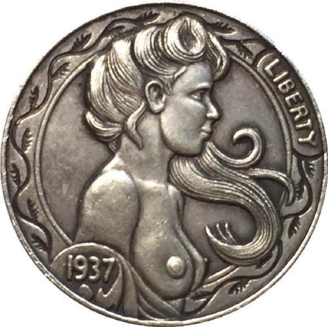 1937 USA Topless Woman Buffalo Nickel Coin