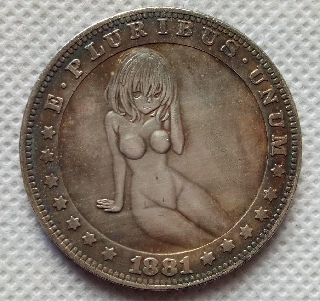 1881 USA Naked Woman Sitting Coin