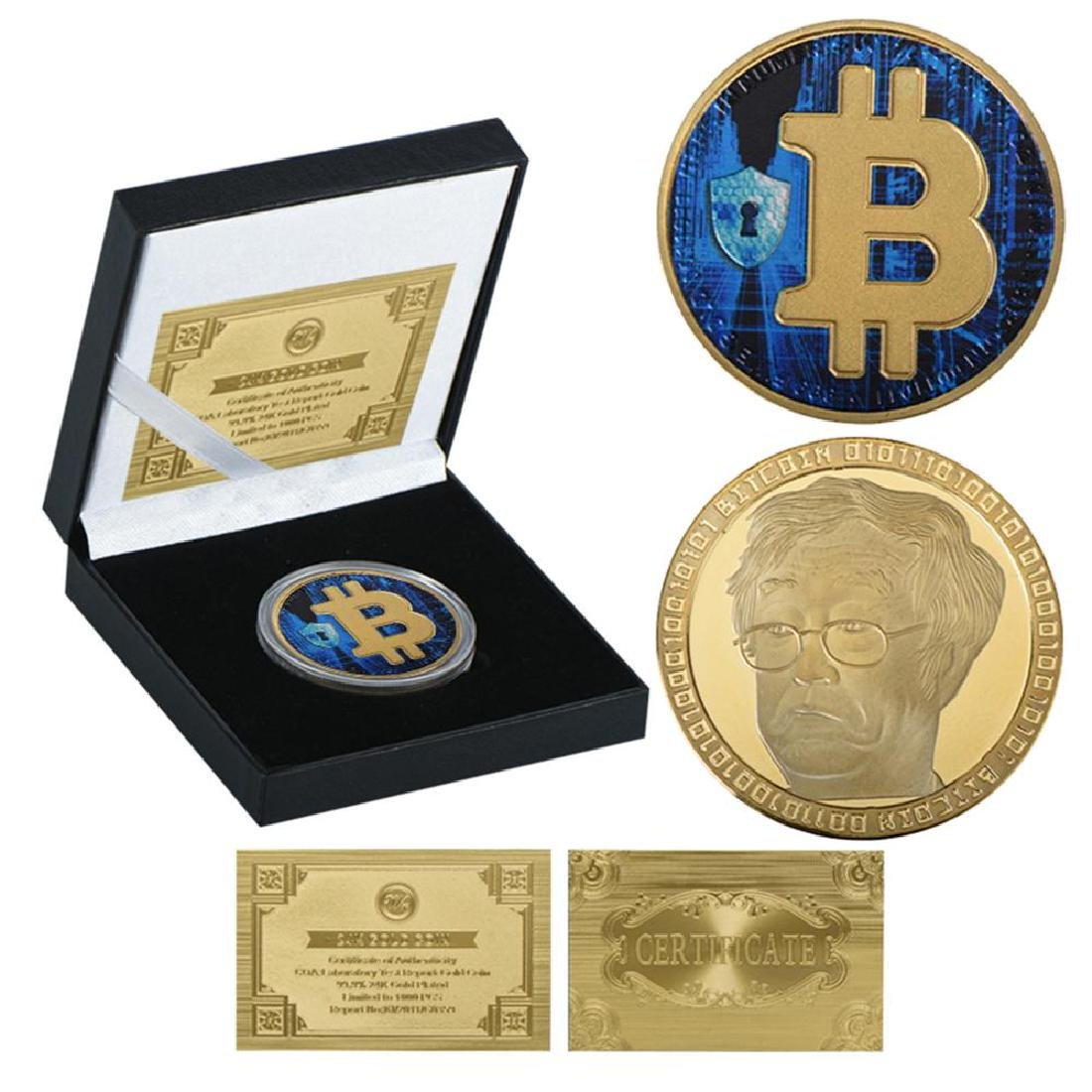 Bitcoin Blue Gold Clad Crypto Coin with COA
