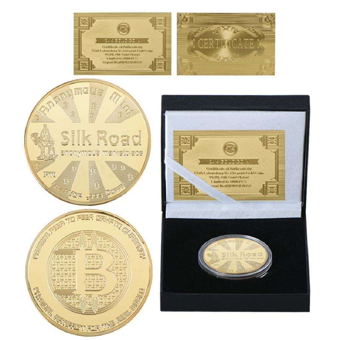 Bitcoin Silk Road Gold Clad Crypto Coin with COA