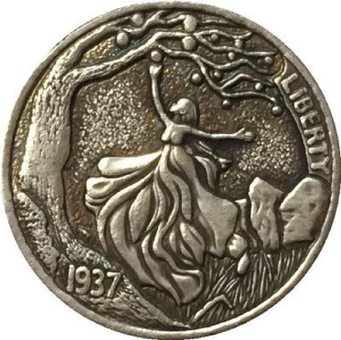 1937 USA Eve Forbidden Fruit Buffalo Coin
