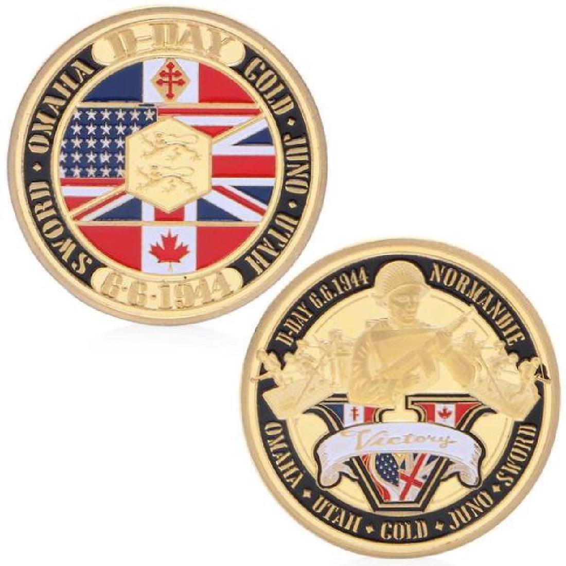D-Day Victory Colored Gold Clad Challenge Coin