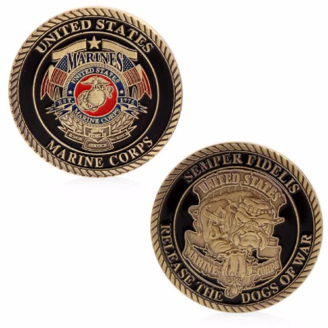 USA Marines Colored Gold Clad Challenge Coin