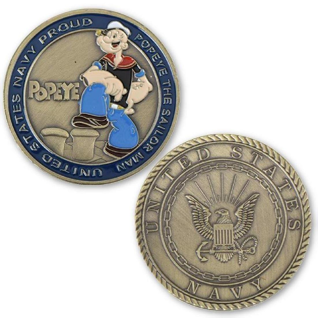 USA Navy Popeye Colored Challenge Coin
