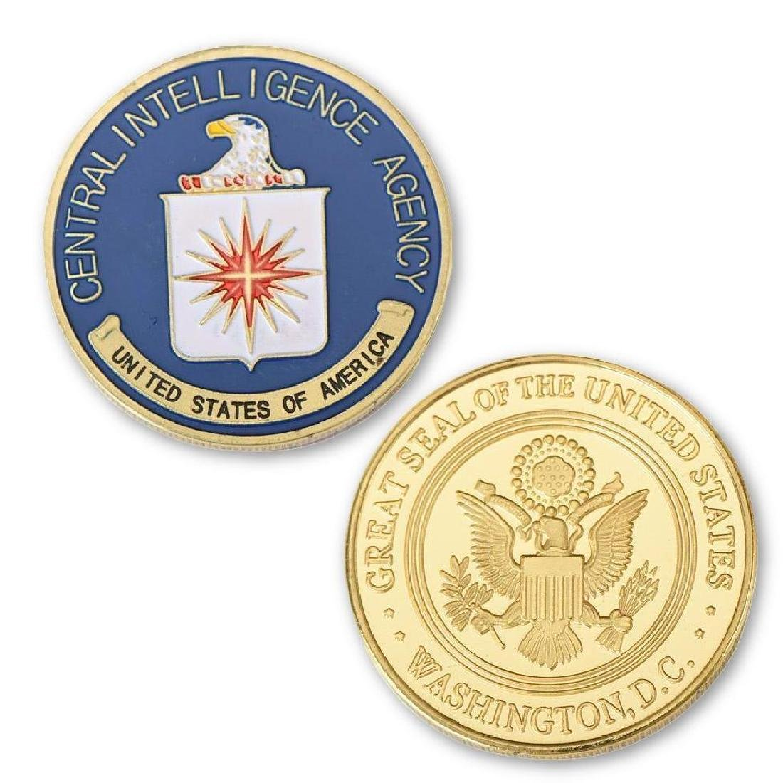 USA CIA Colored Gold Clad Challenge Coin