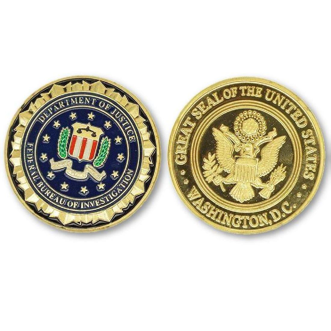 USA FBI Colored Gold Clad Challenge Coin