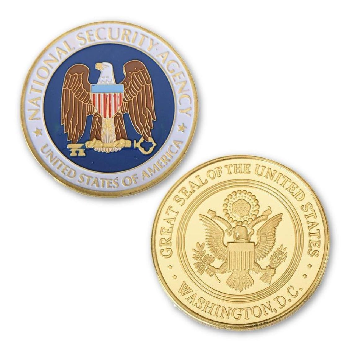 USA NSA Colored Gold Clad Challenge Coin