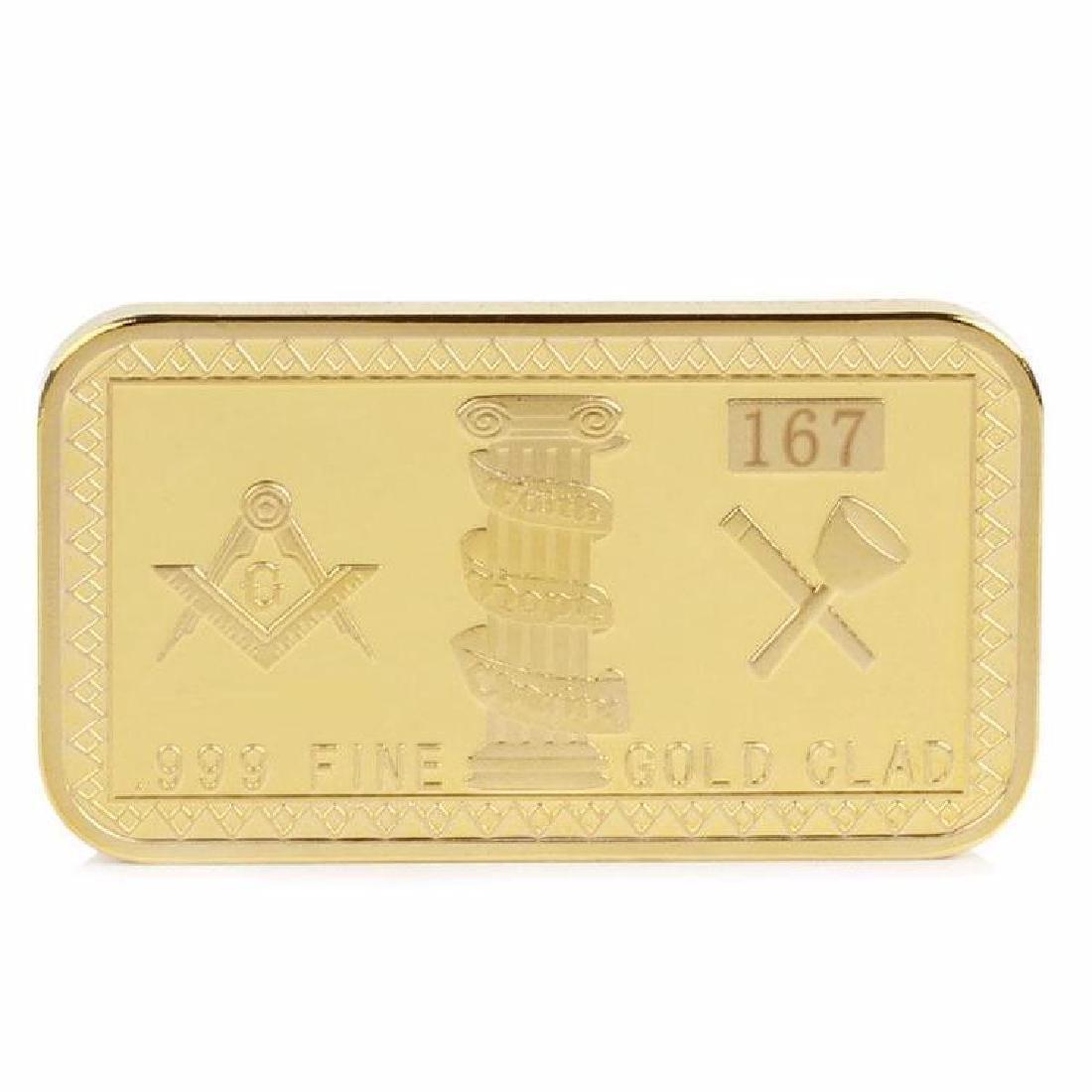 Masonic .999 Fine Gold Clad Bullion Bar