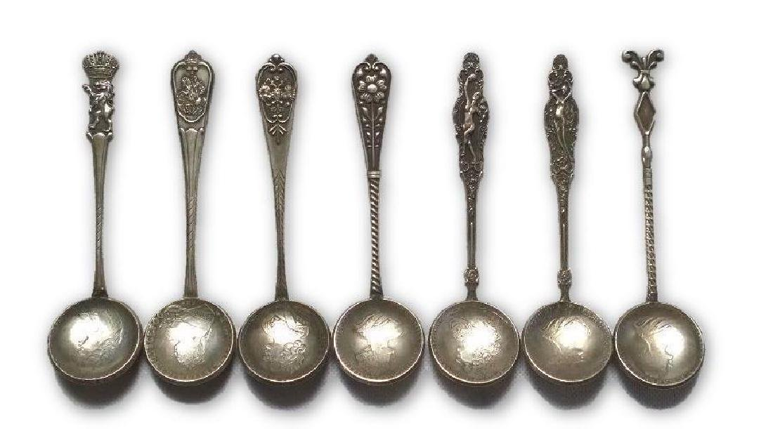 7 Hallmarked Silver Colored Russian Coin Spoons