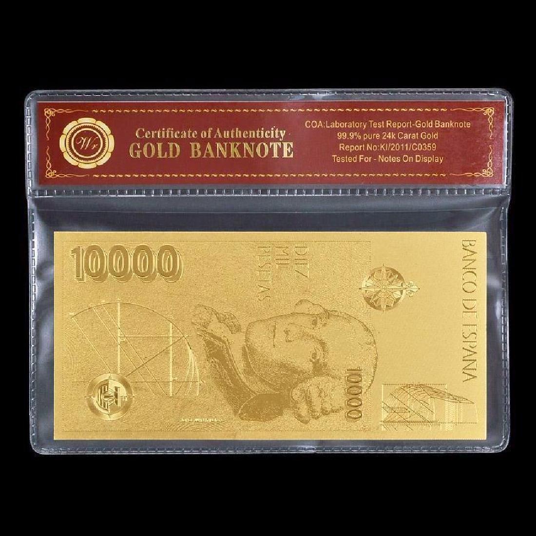 Spain 10,000 Pesetas 24K Gold Clad Banknote - 2