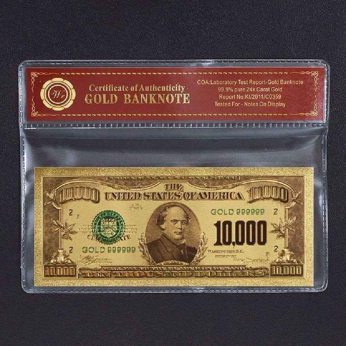 USA $10,000 24K Gold Clad Banknote