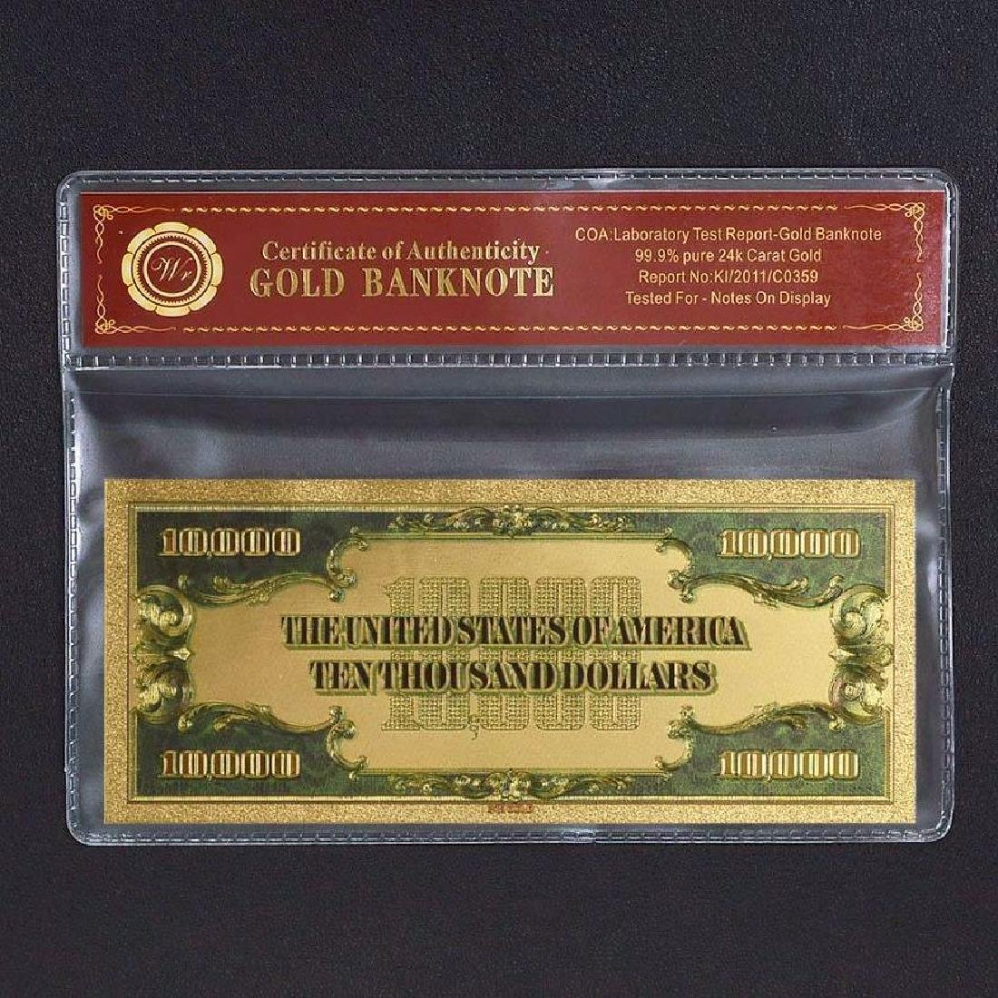 USA $10,000 24K Gold Clad Banknote - 2