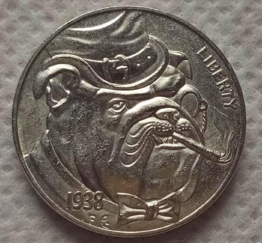 1938 USA Dog Smoking Cigar Buffalo Coin