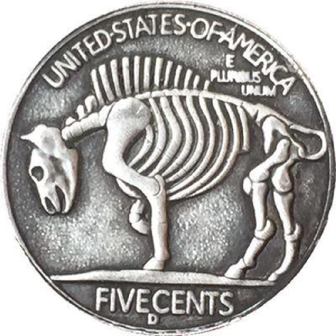 USA Skeleton with Helmet Buffalo Coin - 2