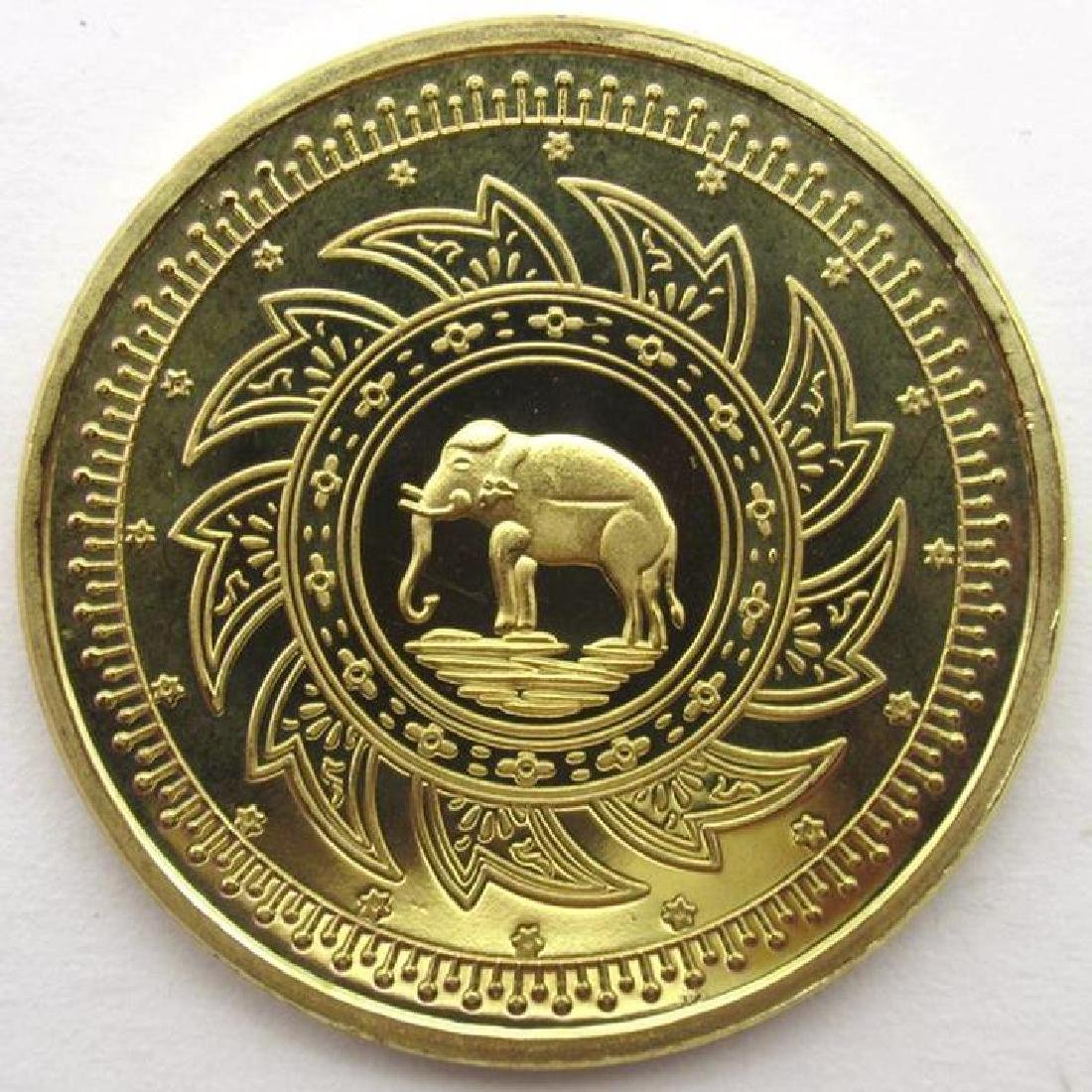 Buddhist Elephant And Temples Commemorative Coin