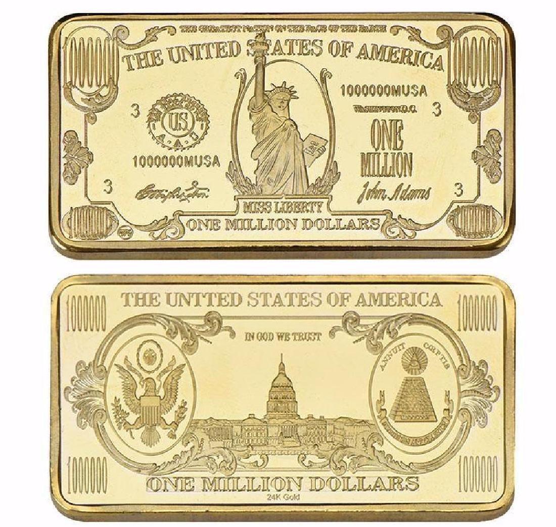 USA $1,000,000 24K Gold Clad Bullion Bar