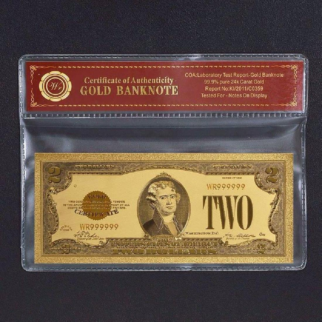 USA $2 24K Gold Clad Banknote