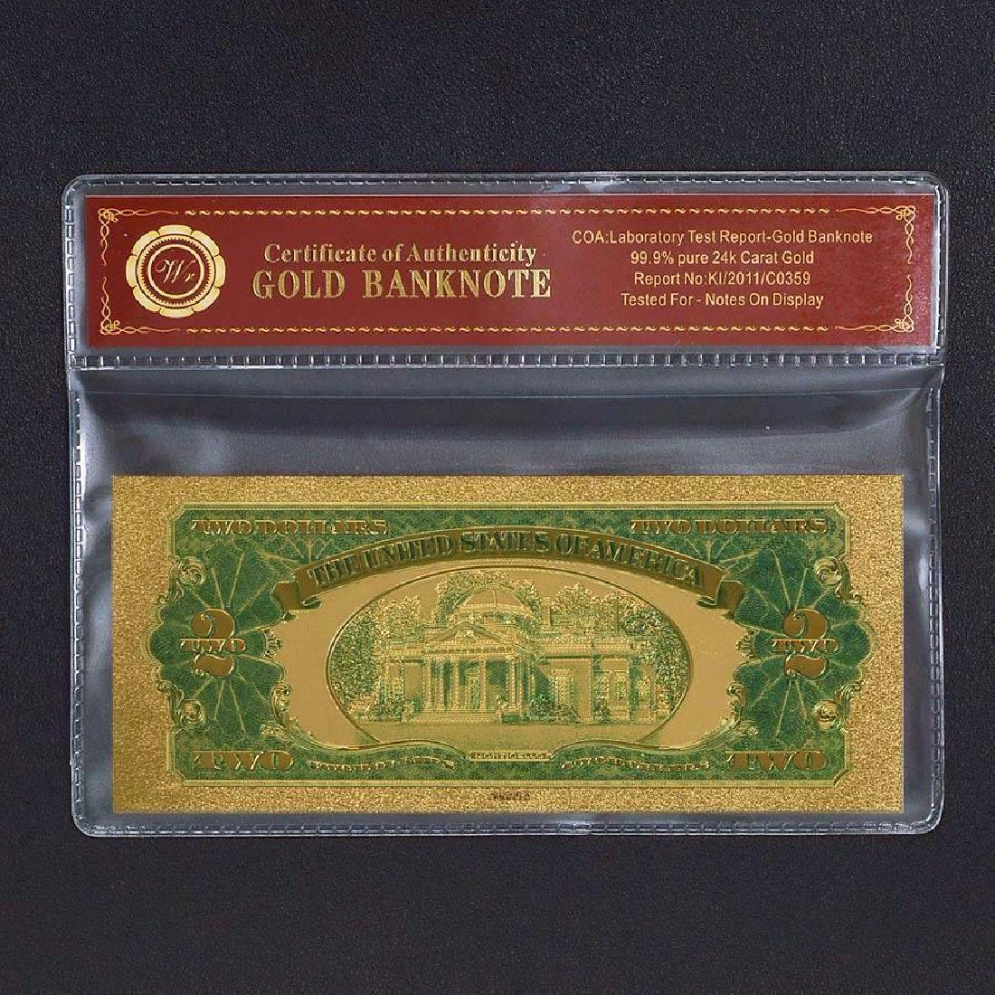 USA $2 24K Gold Clad Banknote - 2