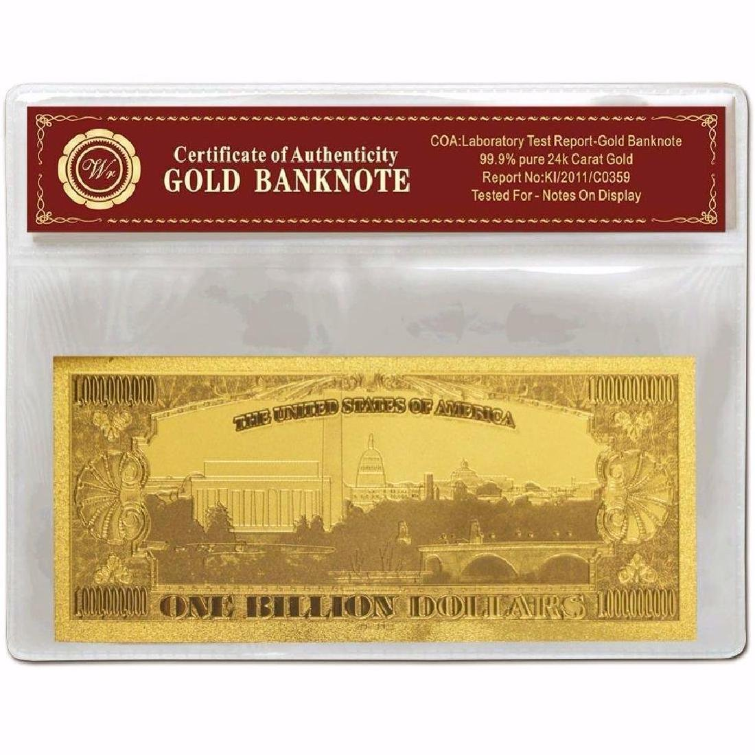 USA $1,000,000,000 24K Gold Clad Banknote - 2