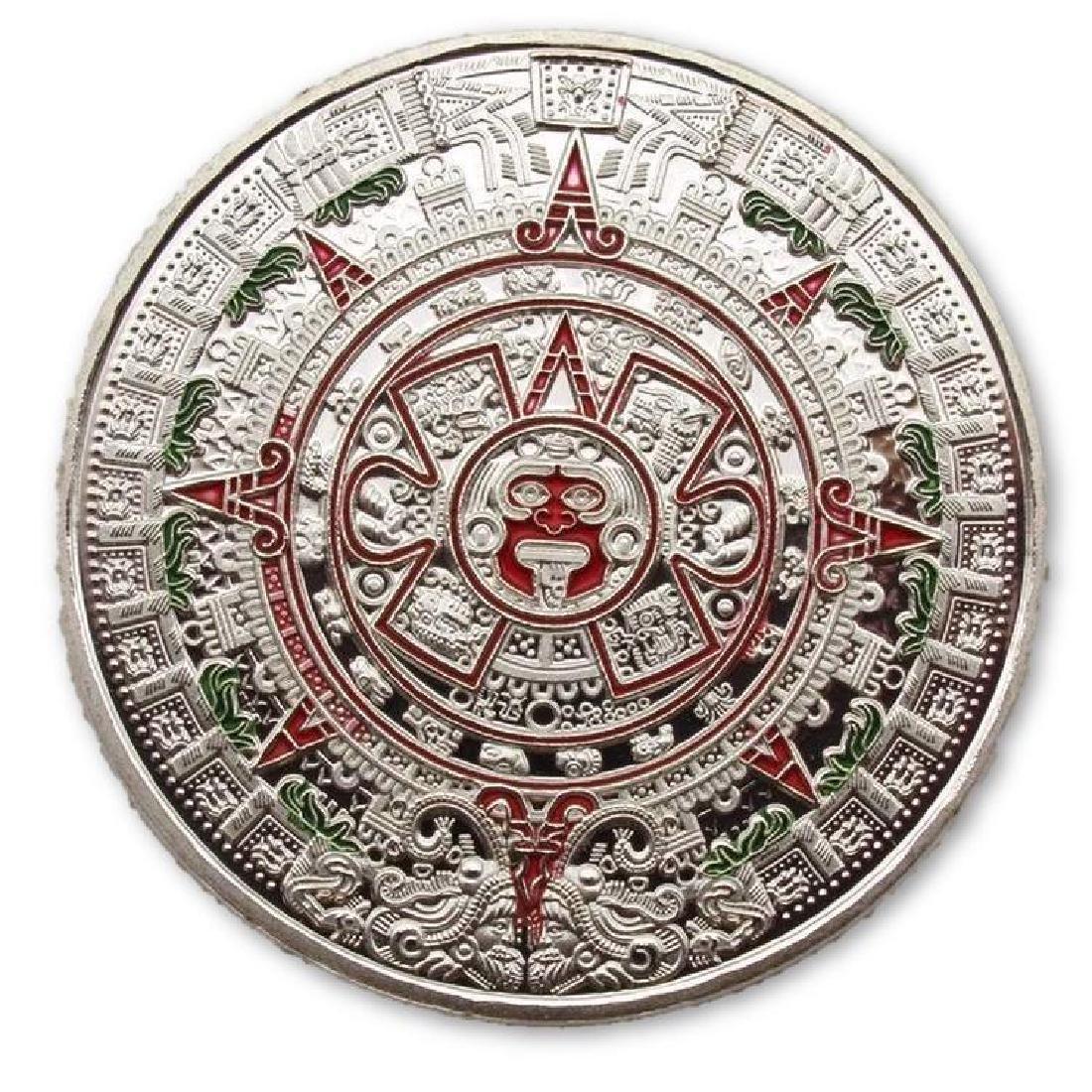 Aztec Calendar Colored Silver Clad Coin