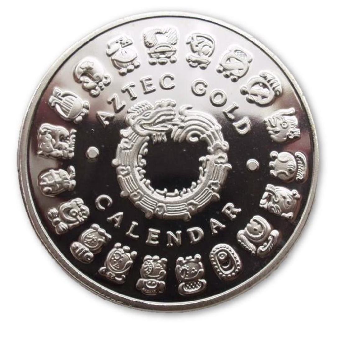 Aztec Calendar Colored Silver Clad Coin - 2