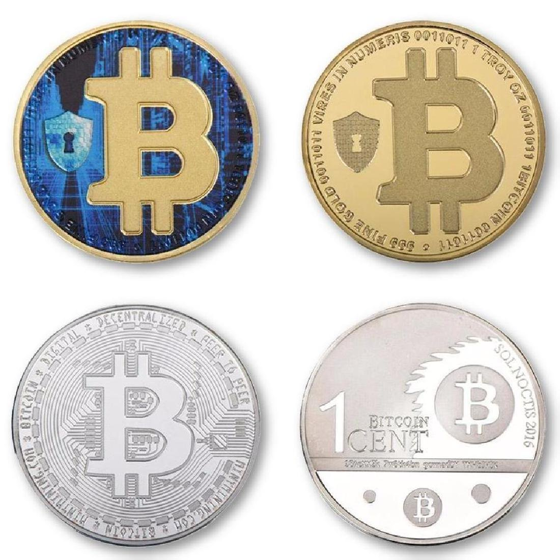 4 Bitcoin Silver and Gold Clad Collectible Coins
