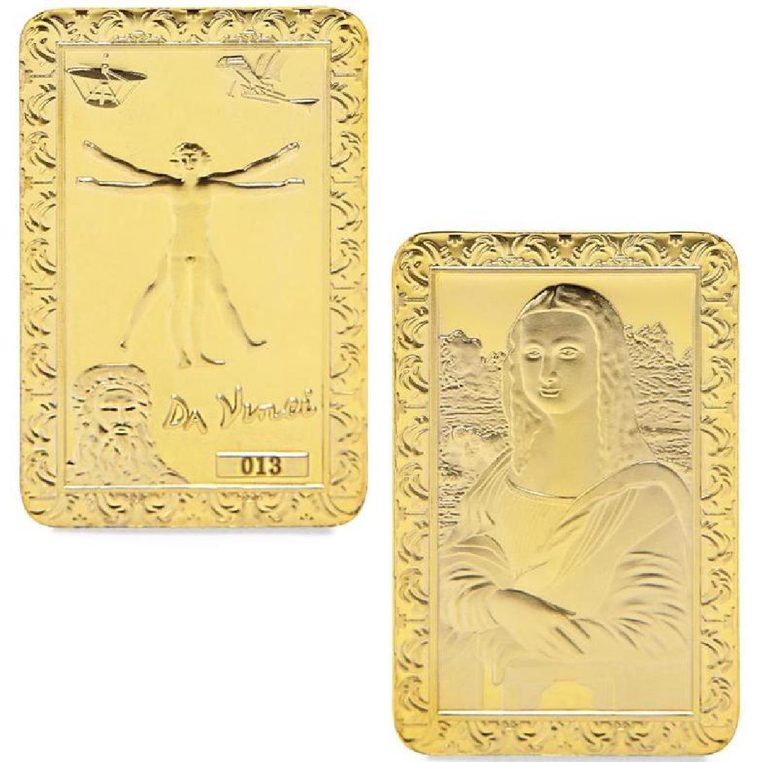 Leonardo Da Vinci Art Gold Clad Bullion Bar